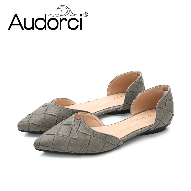 Audorci 2018 Fashion Women Spring Shoes Woman Causual Slip On Pointed Toe D'orsay Flats Peas Boat Shoe zapatos mujer Size 35-40 fashion women shoes pointed toe slip on flat shoes woman comfortable single casual flats size 35 40 zapatos mujer