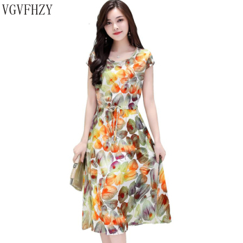 new 2018 Women Summer dress Middle-aged Plus Size 6XL Loose Mother Elegant Short sleeve dress O-neck Flower Print cotton Dress Платье