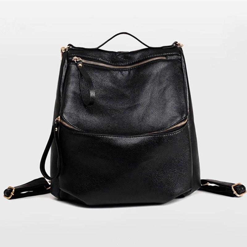 2016 sac à dos en cuir noir sac à dos femmes Softback sacs d'école femmes voyage en cuir paquet sac à dos en cuir femmes