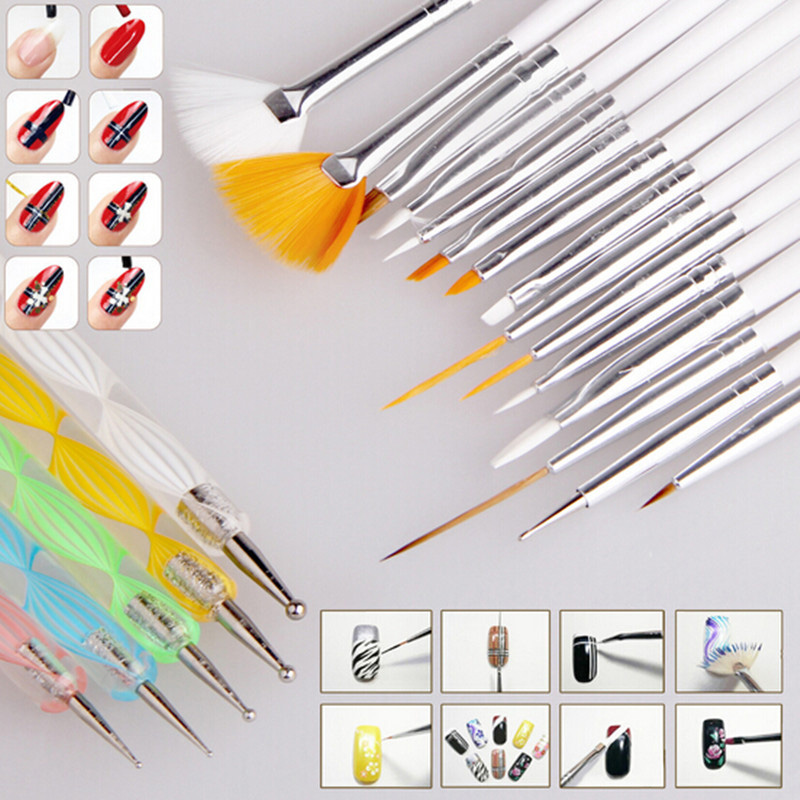 2016 Hot Sale 20pcs Nail Art Design Set Painting Drawing Polish 15 Brush Decoration 5 Pen Tool Wood Accessories #85144