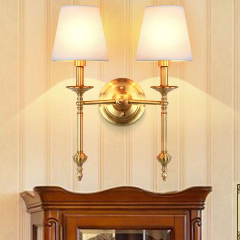 Проект белый ткань абажур бра Медь Светодиодные стены приспособление для фойе отеля E14 * 2 гардеробная ванной свет светильник