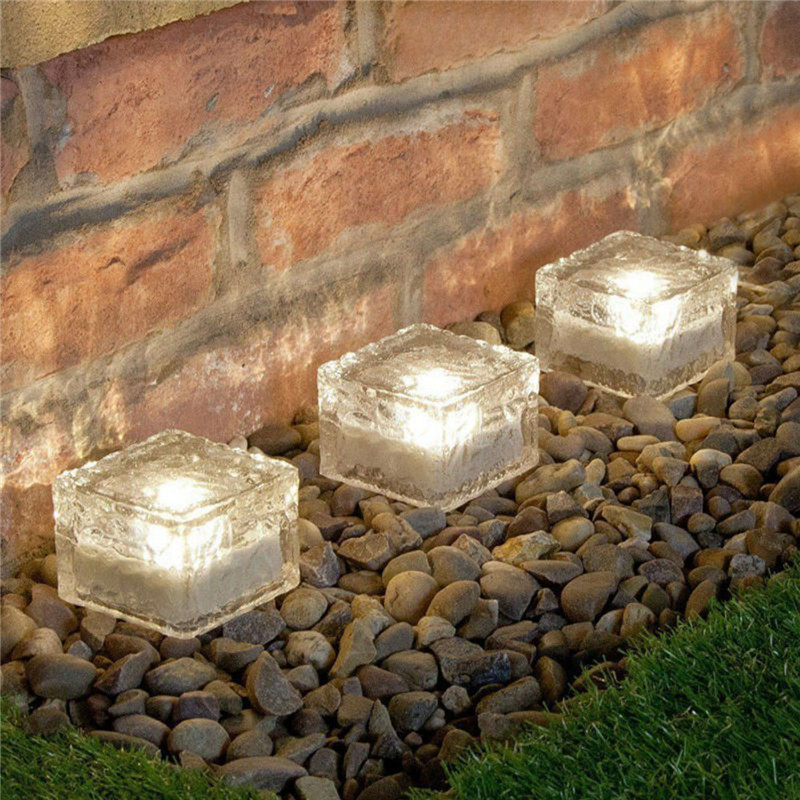 Novelty Led Outdoor Solar Lamp Crystal Glass Ice Brick Lawn Yard Deck Road Path Garden Decoration Waterproof Ground Solar Light