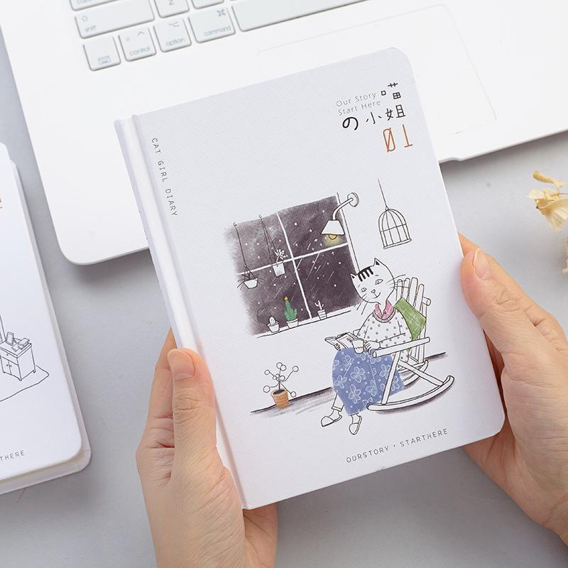 Fashion Cartoon Miss Meow Hardcover Color Page Notebook Office Notepad Multifunction Planner Book Kawaii  Stationery стул page