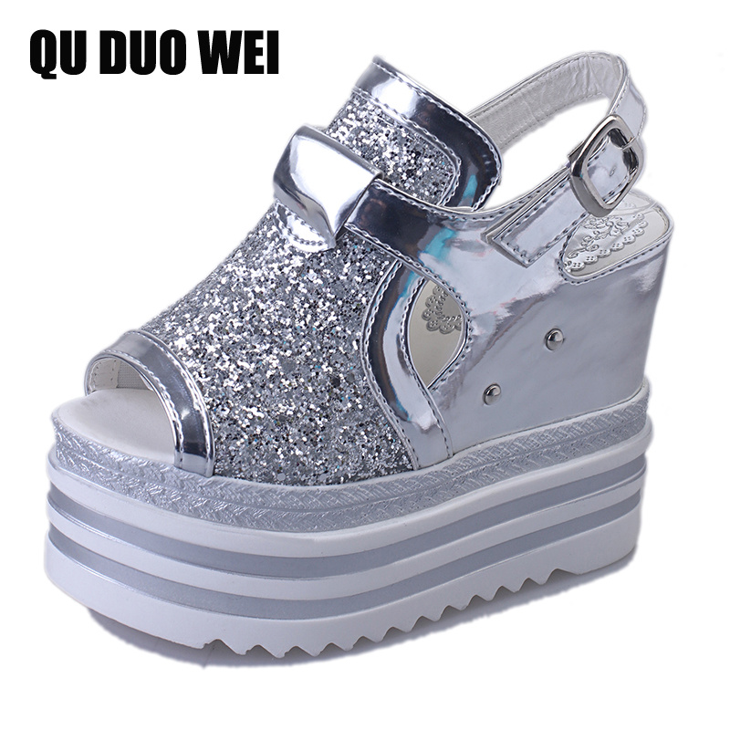 Creepers Bling Glitter Gladiator Sandals Silver Women Platform Casual Wedges Shoes Woman Summer Beach Flip Flops gladiator sandals 2017 fock women summer comfort flats fashion creepers platform casual shoes woman 2 colors