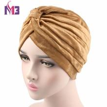 New Winter Fashion Women Velvet Turban Soft Short Plush Ladies Headband Hijab Turbante Hat Headwrap
