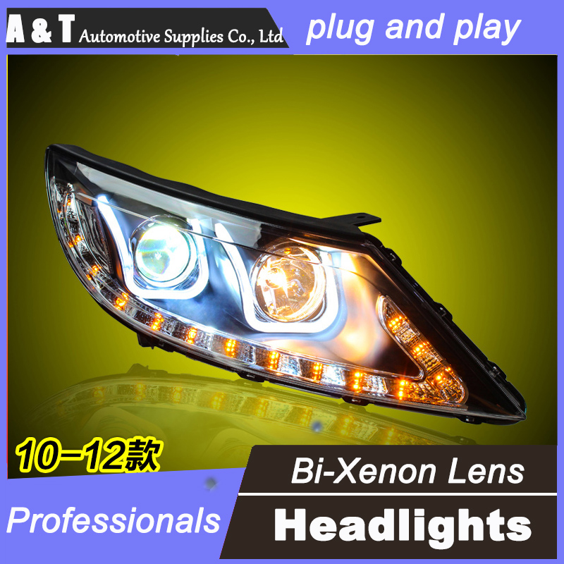 car styling For KIA sportage headlight assembly angel eyes 2010-2012 For sportage xenon lens h7 with hid kit 2 pcs hireno headlamp for 2010 2012 kia sorento headlight assembly led drl angel lens double beam hid xenon 2pcs