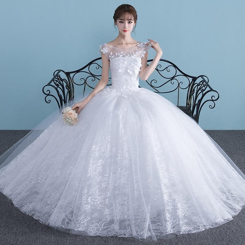 Wedding Dress Elegant White Sheer Scoop Neck Short Sleeves Lace Up ...