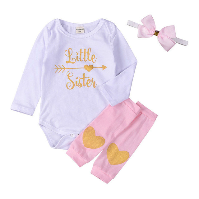 5d8dcf466 Pudcoco 0-24M Newborn Baby Girls Clothes Little Sister Long Sleeve Bodysuit  Striped Leg Printed Heart Hairband 3pcs Kid Clothing