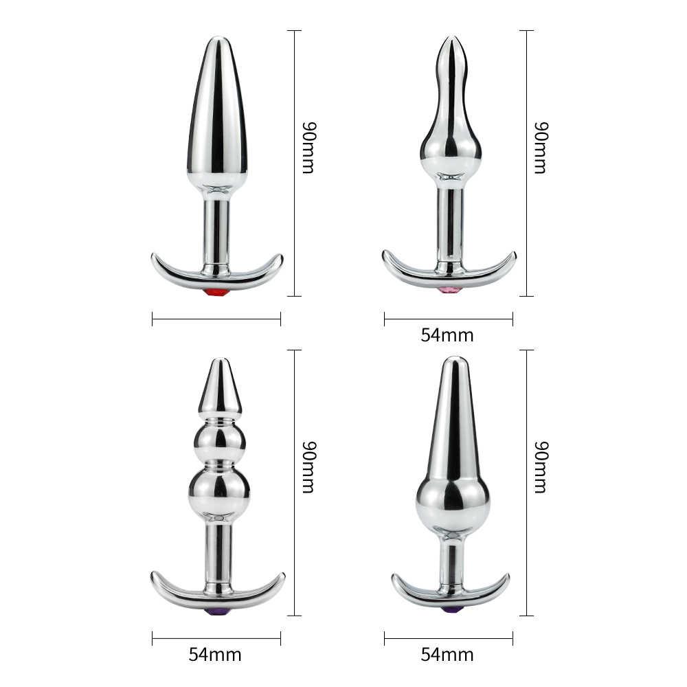 Runyu アルミ合金巨尻プラグ 4 形状金属アナルプラグ金属マッサージなし Virbrator スムーズ表面肛門リトラクタープラグ