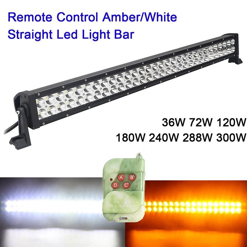 Amber Yellow White Led Light Bar 36w 72w 120w 180w 240w 288w 300w Rremote Control Flashing Barra Led Work Driving Lamp 4X4 Truck