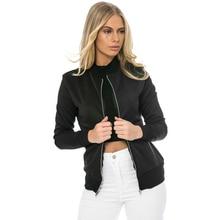 Autumn Fashion Bomber Jacket Women Long Sleeve Basic Coats Casual Thin Slim Outerwear Short Pilot