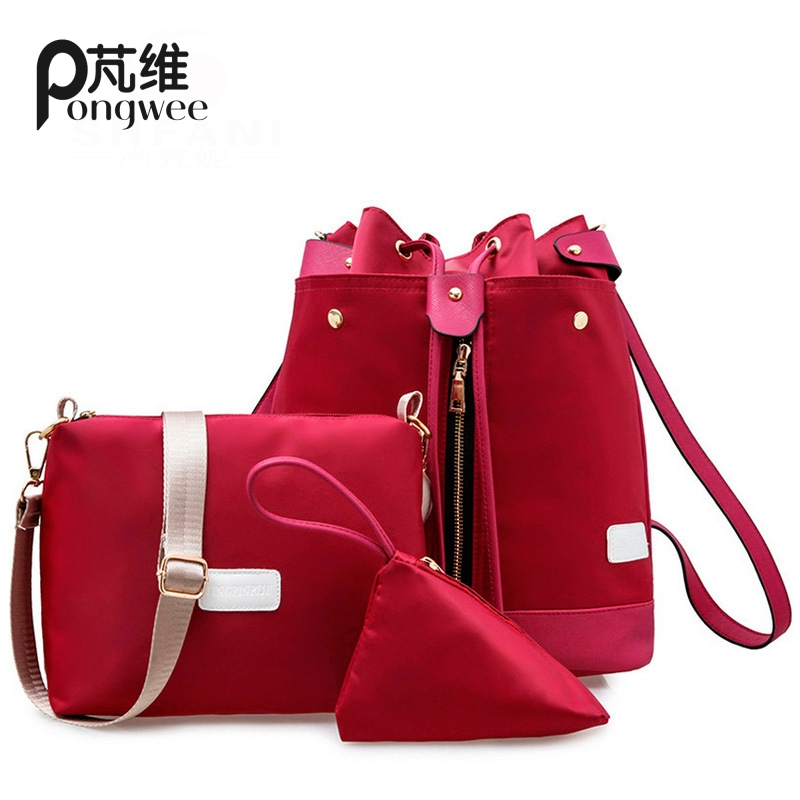 PONGWEE 2017 Fashion School Bags Teenage Drawstring Backpack High Quality Set Canvas Printing Women Back pack Candy Color