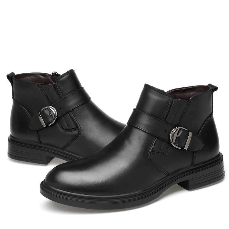 Mannen leisure grote size enkellaarsjes herfst winter fur boot mannelijke kantoor jurk gentleman koe lederen schoenen zapato hombre