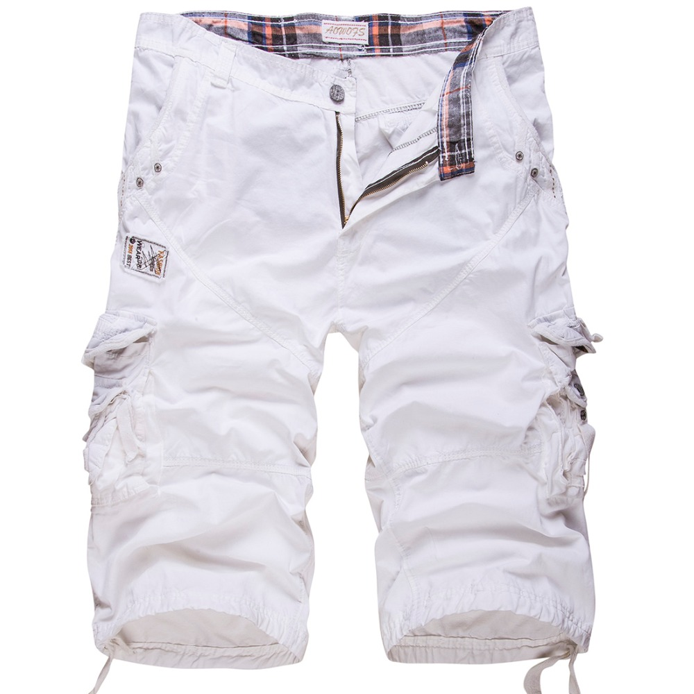 High quality Men Cotton Cargo Shorts New summer Male Solid ...