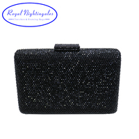 Hard Box Clutch Black Evening Purses With Rhinestones Crystal Evening Bags and Clutch Bags