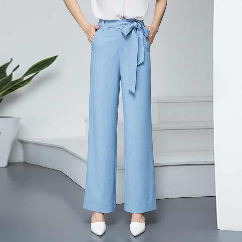 2019 Herfst Nieuwe Vrouwen Casual Trekkoord Zachte Denim Jeans Eenvoudige Brede Been Stretchy Broek Licht Donkerblauw Plus Size Met riem