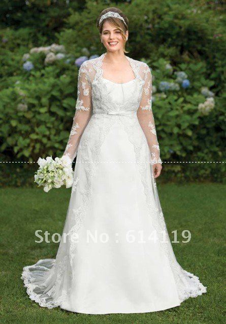 Amazing Plus Size Long Sleeve Wedding Dress A Line High Collar Lace