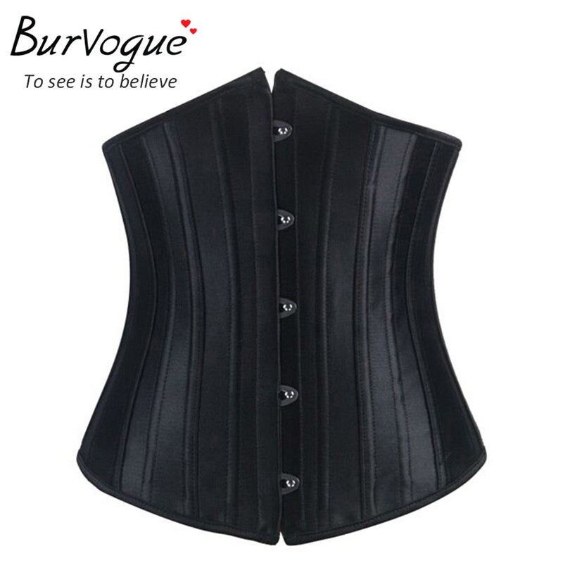 Burvogue Corsets and Bustiers Sexy Underbust Steel Boned Satin Corset Tummy Control Waist Slimming Shaper Corset for women