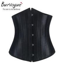 Burvogue Corsets and Bustiers Sexy Underbust Steel Boned Satin Corset Tummy Control Waist Slimming Shaper Corset for women