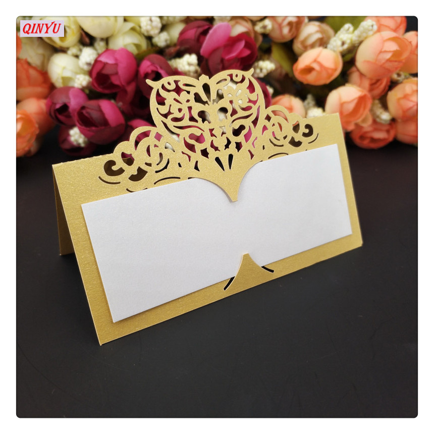 100Pcs Laser Cut Heart Seat Card  Wedding Celebration  Table Card  Birthday Party Seats Card  Vintage Table Number Name Card 5Z