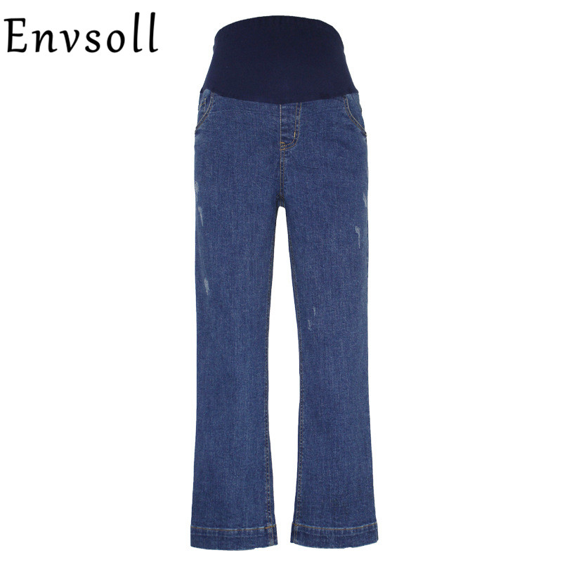 Envsoll Maternity Wide Leg Jeans Pants For Pregnant Women Pregnancy Prop Belly Pants Maternity Loose Overalls Straight Clothes striped self tie wide leg pants