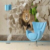 Beibehang sư tử đồ họa độ nét cao gạch tường bức tranh tường nền cậu bé ngồi trang trí nội thất phòng bức tranh tường nền trên tường