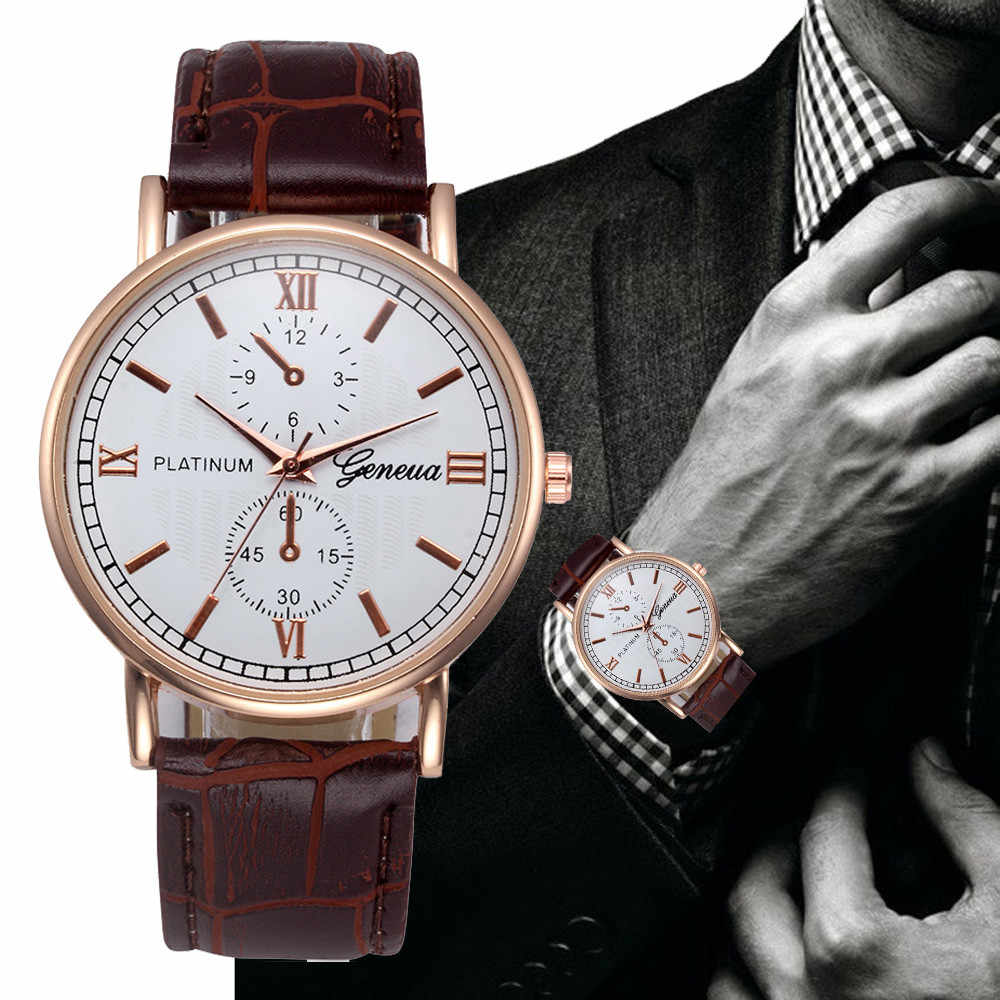 Hot sale relogio masculino quartz watch MEN PU Leather Band Analog Alloy Quartz Wrist Watch clock horloges mannen gift#5