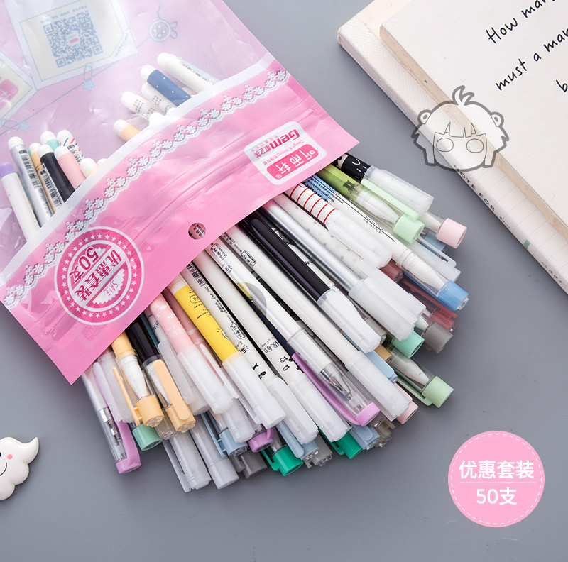 Image 4 - 50 pcs/Lot Kawaii gel pens 10 color ink ballpoint pen Ballpoint 0.38mm 0.5mm Stationery Office School supply lapices escolar-in Gel Pens from Office & School Supplies