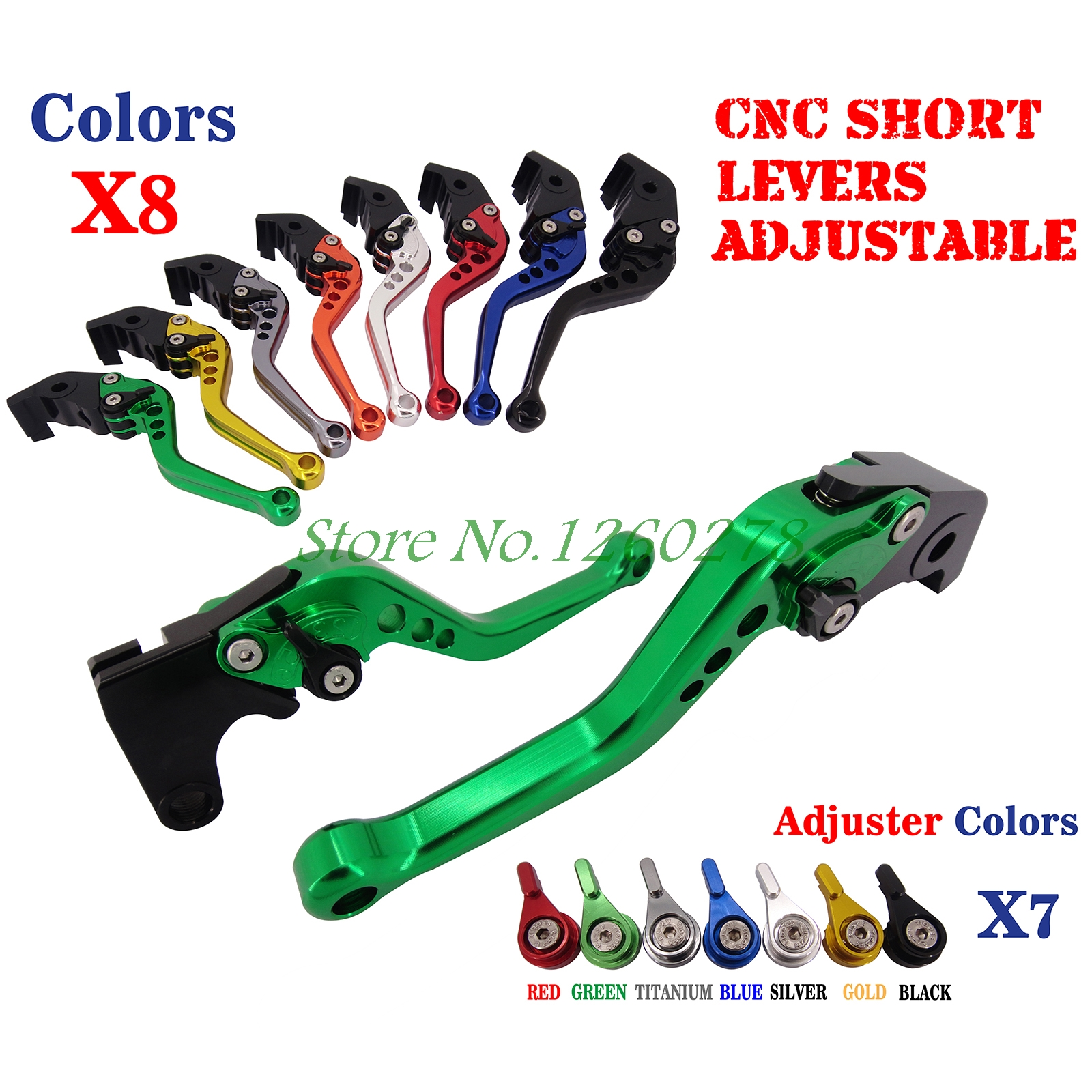 CNC Short Adjustable Brake Clutch Levers For Kawasaki ZZR/ZX 1400 S Version 2016