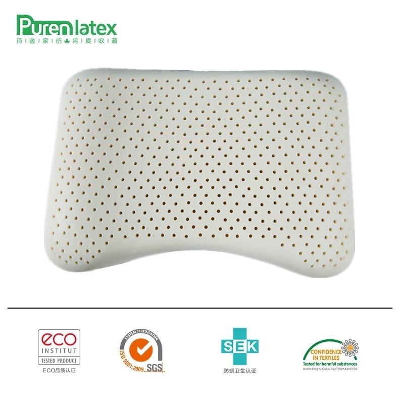 PurenLatex 57x37 Ventileret Thailand Pure Natural Latex Pillow Concave Anti-Stiv Soft Soft Orthopedic Pillow Vertebrae Health Care
