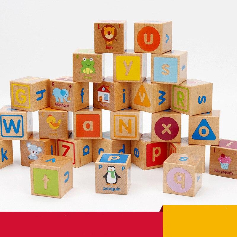 26 pièces/ensembles blocs de construction en bois bébé jouet éducatif grande particule bloc de construction ABC jouets d'apprentissage pour enfants enfants cadeaux