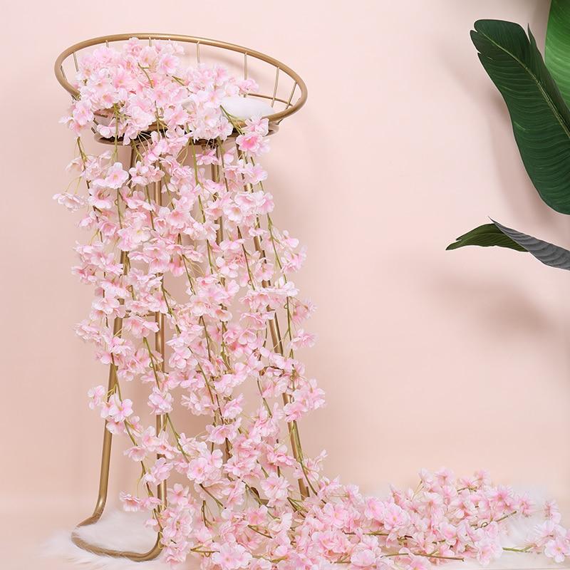 Сакура вишневого цвета украшение для свадебной арки из ротанга лоза Искусственные цветы домашний Декор DIY Шелковый Плющ настенный венок