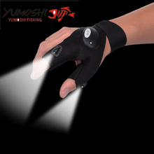 Vivid-worlD YUMOSHI LED Anti Slip Fishing Gloves Outdoor Sports Slip-resistant Fishing Gloves for night fishing