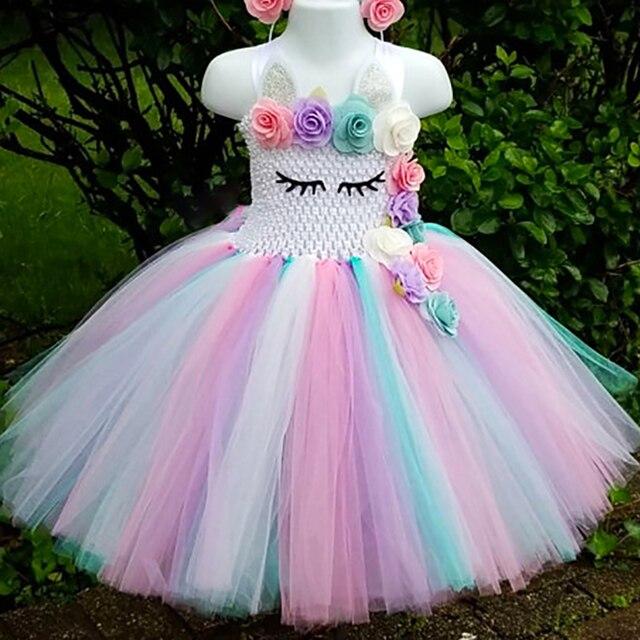 Pastel Unicorn Tutu elbise bebek çocuk kız çiçek doğum günü Masquerade parti elbise çocuk Purim günü cadılar bayramı noel kostüm