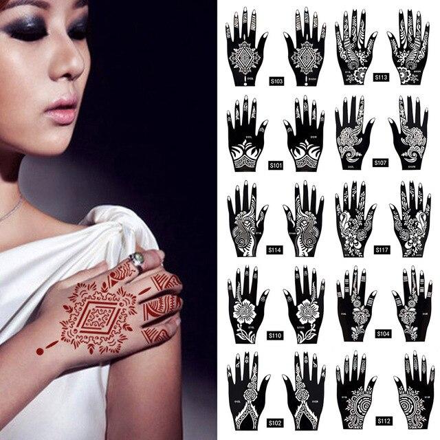 2Pcs/Set Temporary Tattoo stencil 25 designs Body Art Men Women Indian Henna pattern Beauty Waterproof Fake Arm Hand Reuse tatoo