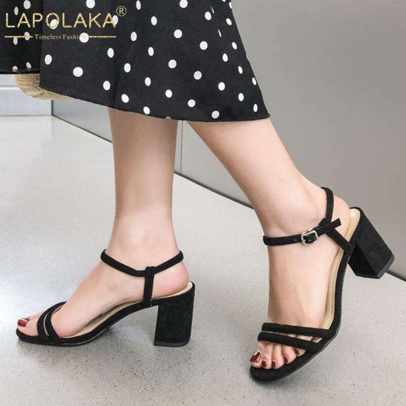 39f4bddec3a2 Daim Noir Femme Enfant Talons D'été Sandales Mode Femmes Sabot Chaussures  apricot Lapolaka 4jL3A5R