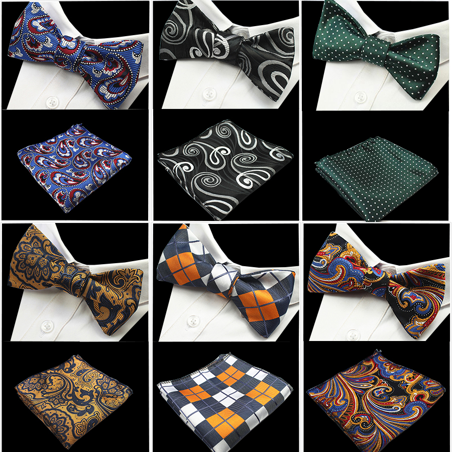 GUSLESON Nuovo disegno Self Bow Tie e Hanky ​​Set Silk Jacquard Woven Men BowTie Pocket Square Fazzoletto Suit Wedding Party
