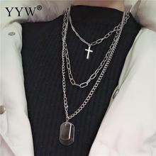 Multilayers Punk Silver Chains Cross Necklace Couple Fashion Street Hip Hop Geometric Metal Pendant Necklaces for Women