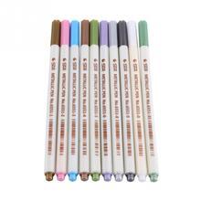10 шт. металлическая цветная маркерная ручка для подсветки с мягким прочным тонким наконечником для фотоальбома DIY школьные офисные принадлежности