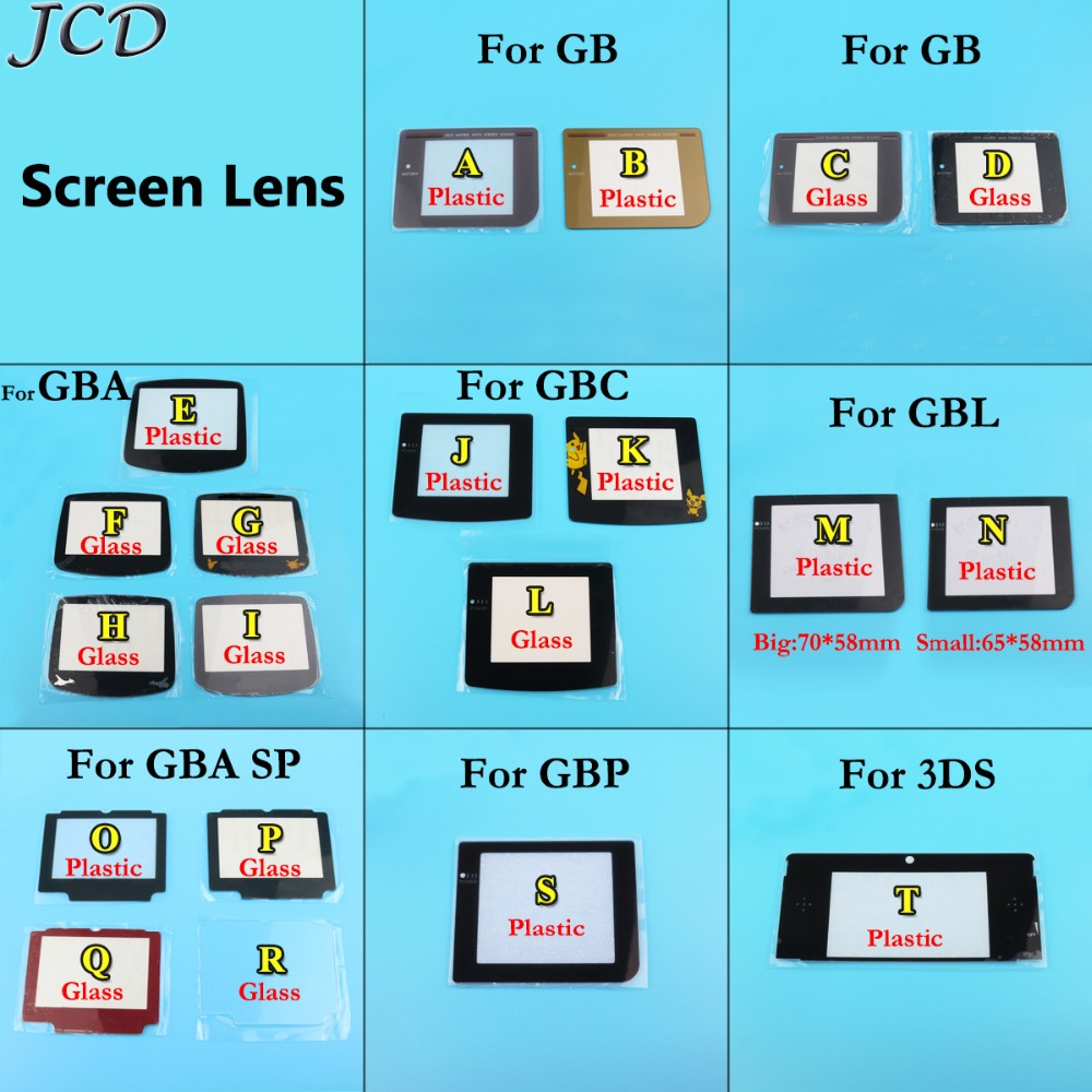 JCD Replacement Screen Lens cover for Gameboy Display Plastic Glass for 3DS GB GBA GBC GBA SP GBP GBL Protector W/ AdhensiveJCD Replacement Screen Lens cover for Gameboy Display Plastic Glass for 3DS GB GBA GBC GBA SP GBP GBL Protector W/ Adhensive