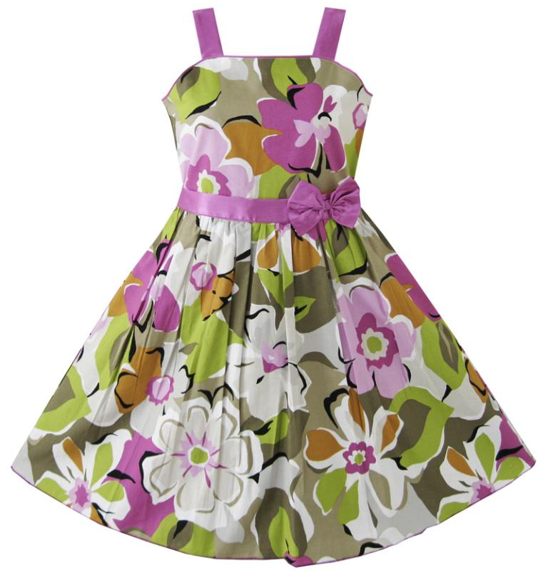 Sunny Fashion Girls Dress Purple Flower Party Pageant Children Clothes Size 4-12 Kids Summer Princess Dresses Vestidos Girl