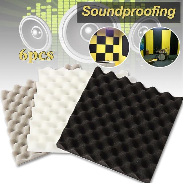 6 piezas 305*305*40mm aislamiento de espuma de estudio acústico de espuma a prueba de absorción de tratamiento Panel de cuña de poliuretano de espuma