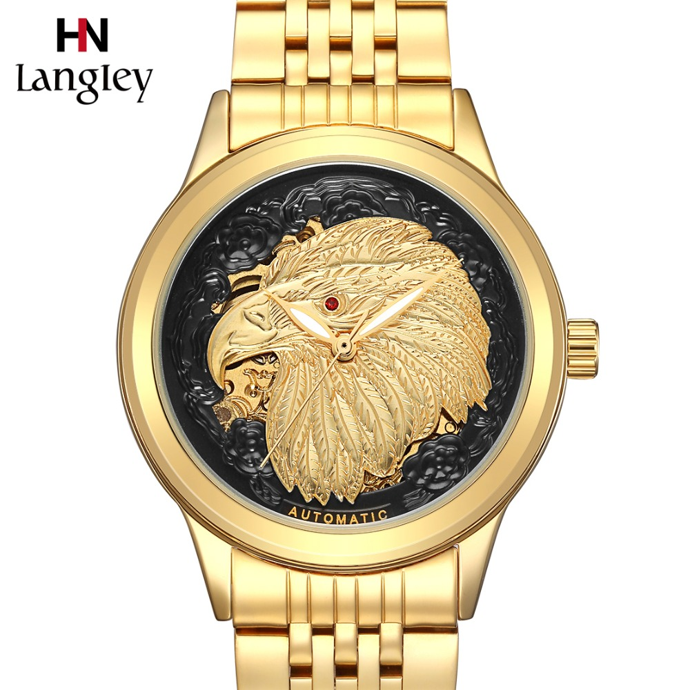 High Quality Golden 3D Carved Dials Men Self-wind Mechanical Watch Male Automatic Business Eagle Pattern Clock Relogio MasculinoHigh Quality Golden 3D Carved Dials Men Self-wind Mechanical Watch Male Automatic Business Eagle Pattern Clock Relogio Masculino