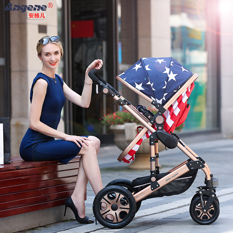 baby stroller high landscape carts can be sitting and lying two-way four wheel shock proof portable folding stroller pram
