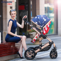baby stroller high landscape carts can be sitting and lying two-way four wheel shock proof portable folding stroller BB