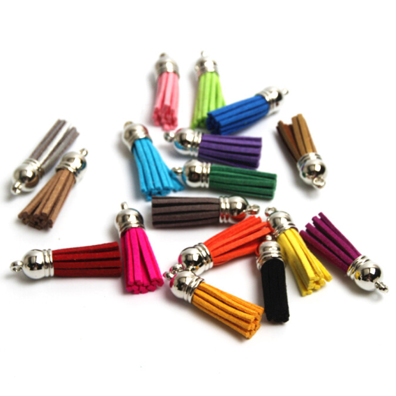 10pcs/lot Silver Color Cap 38mm(1.49in) Leather Tassel for Keychain DIY Decoration Purl Bag borlas de colores10pcs/lot Silver Color Cap 38mm(1.49in) Leather Tassel for Keychain DIY Decoration Purl Bag borlas de colores