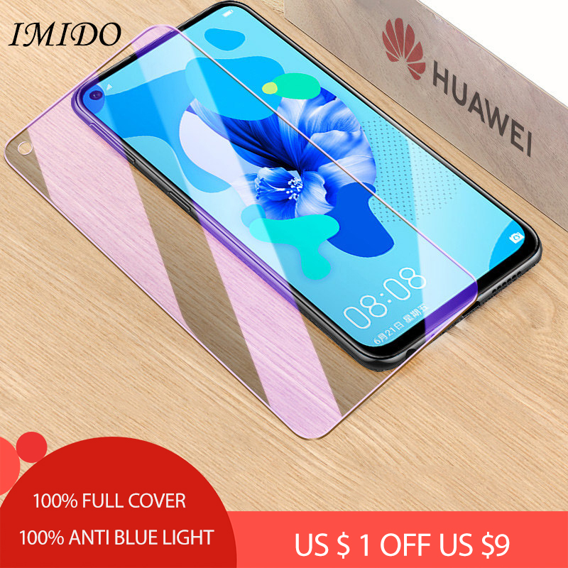 JGKK Full Coverage Anti-blue Purple Light 2.5D Tempered Glass For Huawei Nova 5i Screen Protector Protective Film for