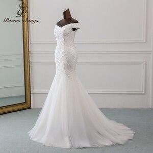 Image 2 - PoemsSongs New style beautiful three dimensional flower lace wedding dress 2020 Vestido de noiva Mermaid dress robe de mariee