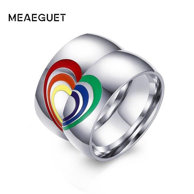 Meaeguet LGBT Wedding Rings Jewelry For Women Men Rainbow Resin