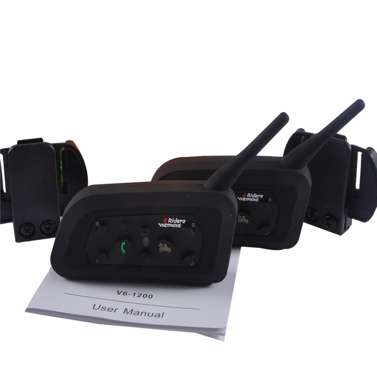 2PCS V6C 1200M Wireless Bluetooth Sccoer Referee Intercom Headset Full Duplex 2User Interphone Max 6Users with GPS for Skiing (13)